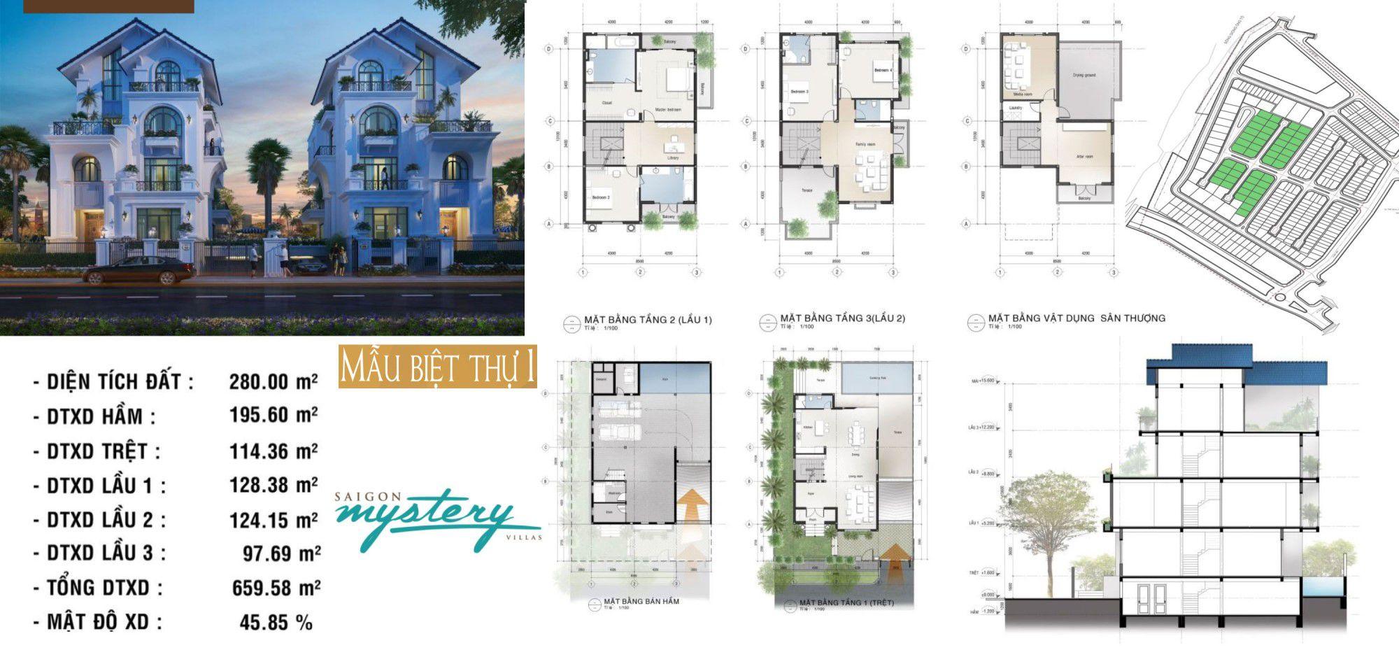 Thiết kế biệt thự Saigon Mystery Villas mẫu 1