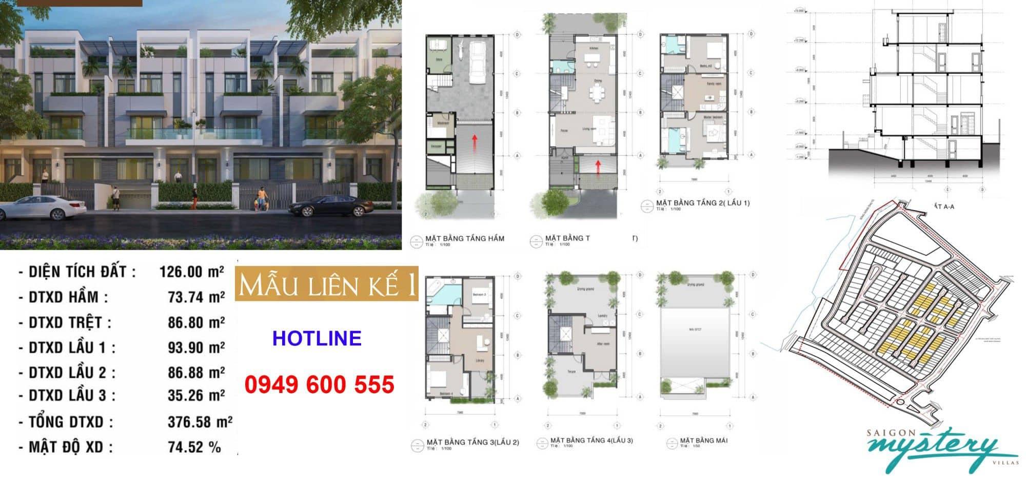 Thiết kế nhà phố liền kế Saigon Mystery Villas mẫu 1
