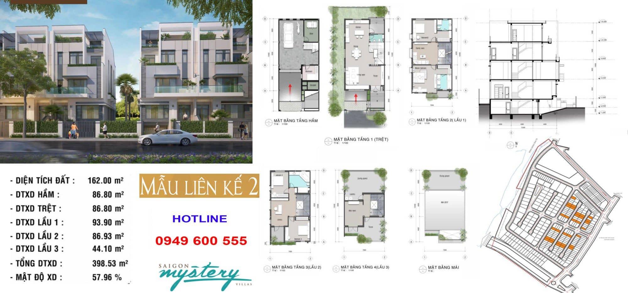 Thiết kế nhà phố liền kế Saigon Mystery Villas mẫu 2