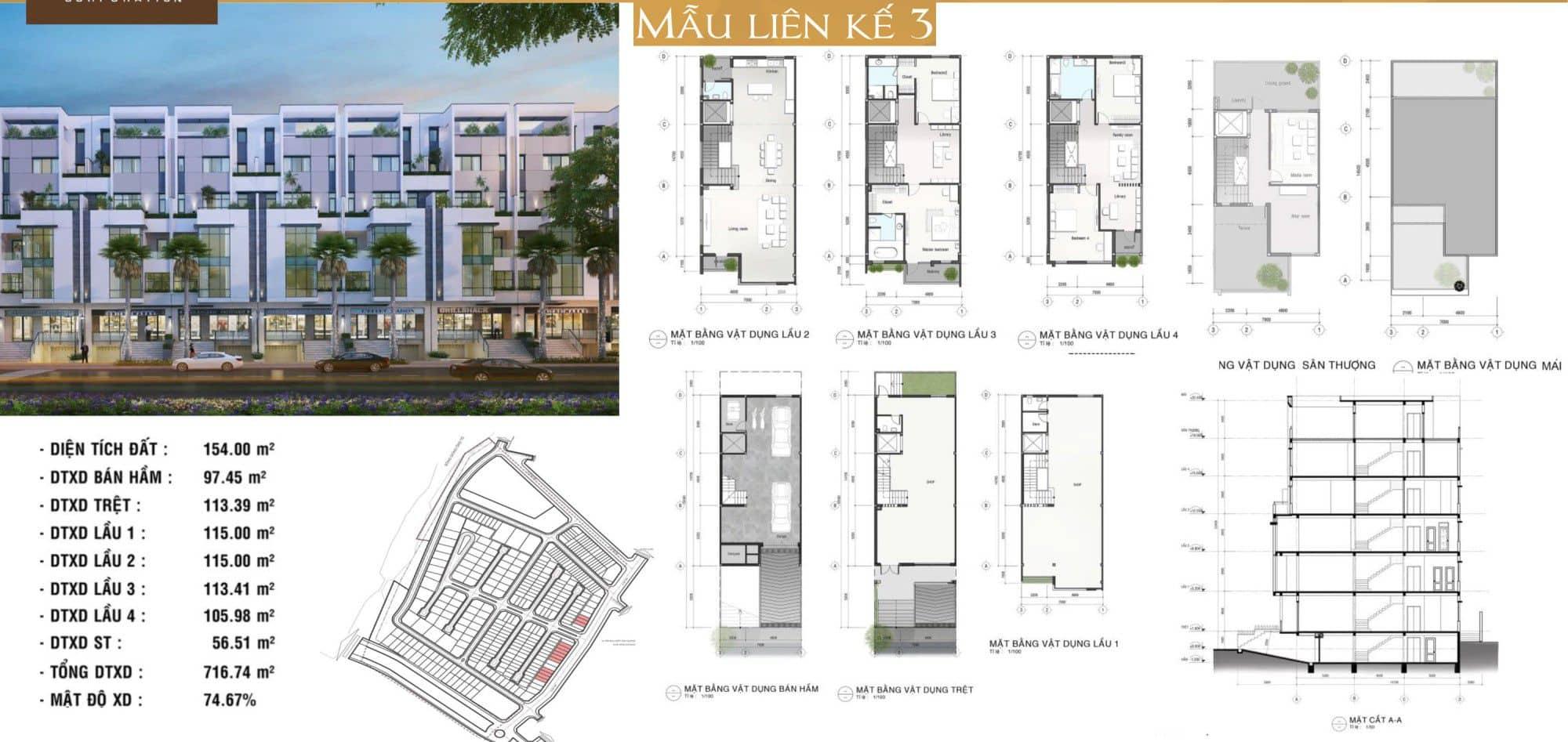 Thiết kế nhà phố liền kế Saigon Mystery Villas mẫu 3