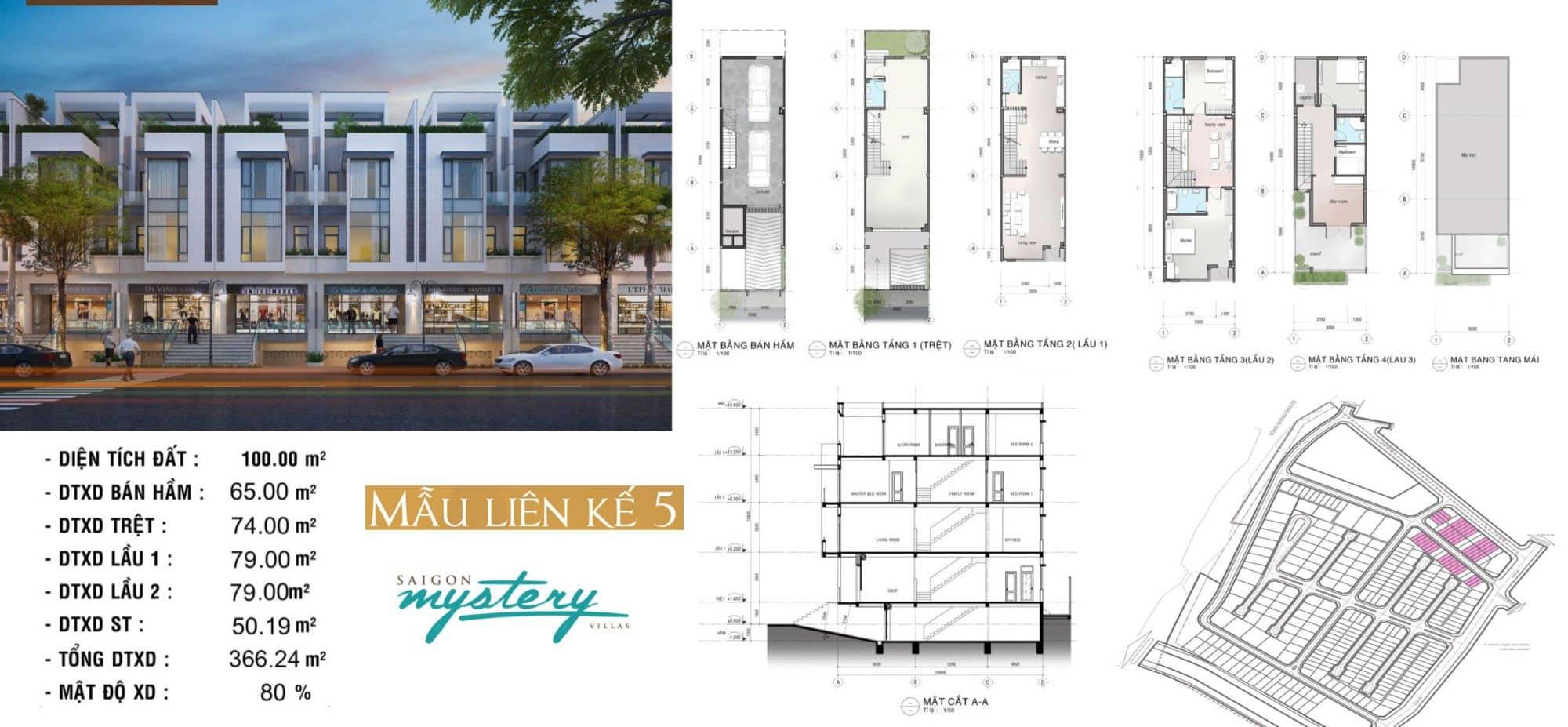Thiết kế nhà phố liền kế Saigon Mystery Villas mẫu 5