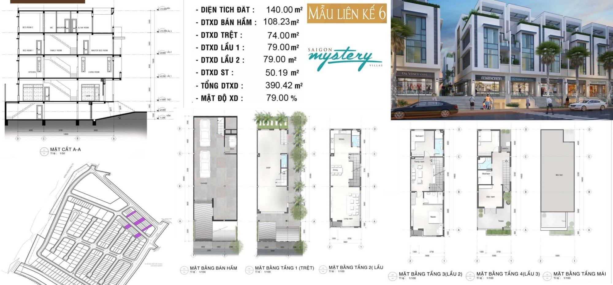 Thiết kế nhà phố liền kế Saigon Mystery Villas mẫu 6