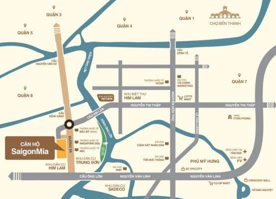 Vị trí căn hộ cao cấp Sài Gòn Mia
