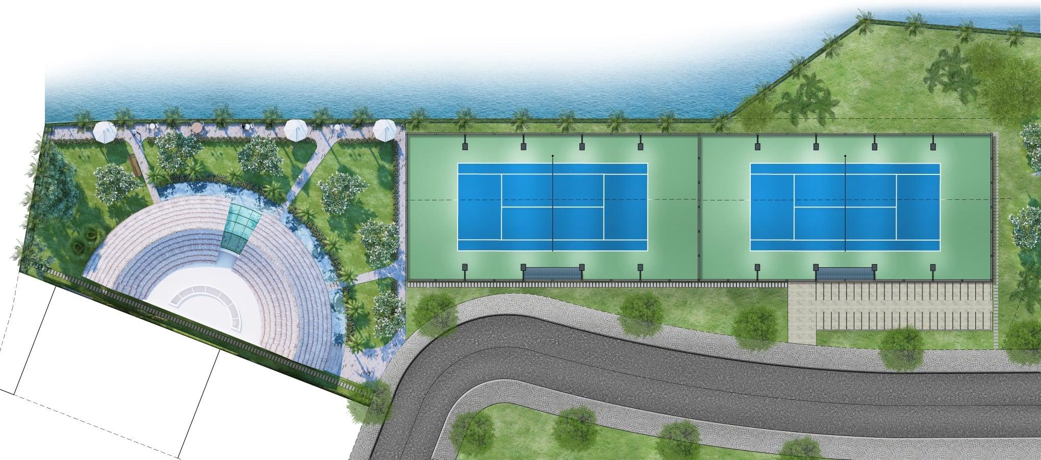 Khu cafe và sân Tennis