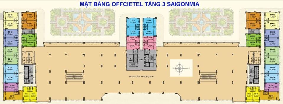 Mặt bằng Officetel Saigon Mia tầng 3
