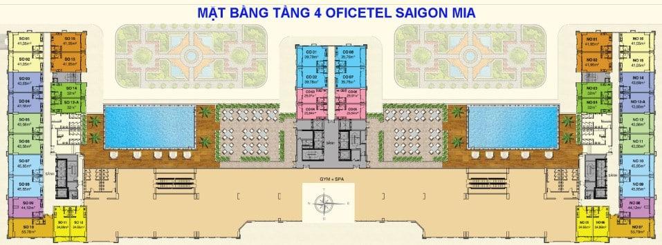 Mặt bằng Officetel Saigon Mia tầng 4