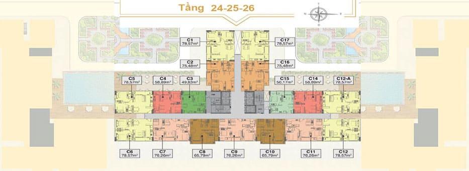 Mặt bằng Saigon Mia tầng 24-26