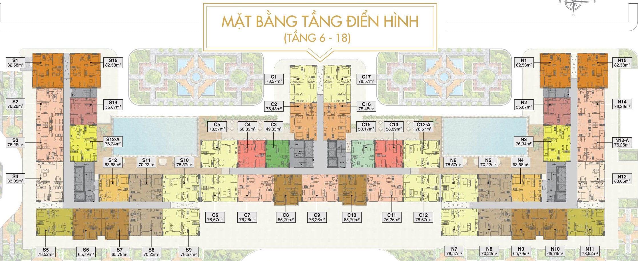 Mặt bằng căn hộ điển hình tầng 6-18