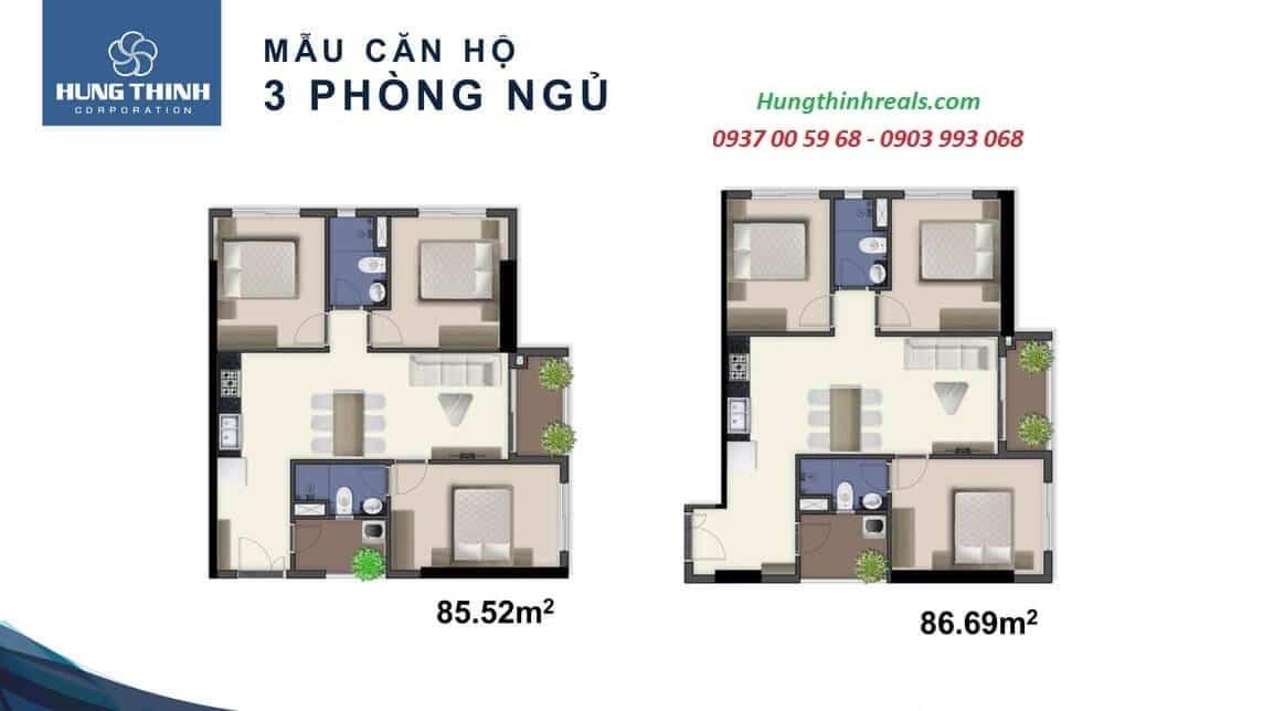 Mẫu căn hộ 3 Phòng Ngủ