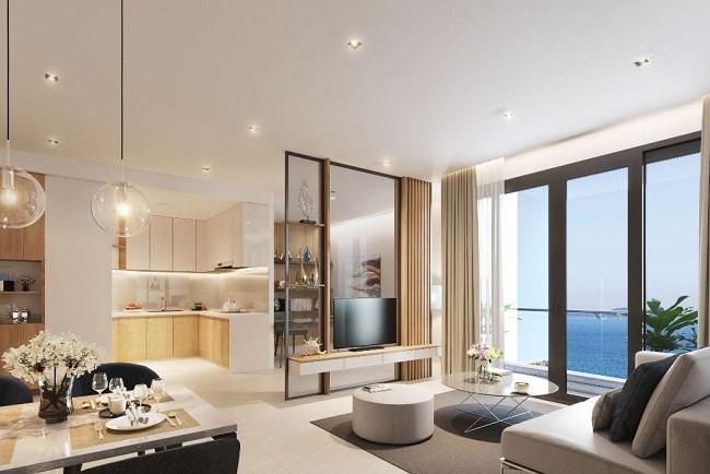 Khu bếp và phòng khách hướng biển